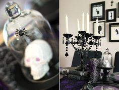 Una fiesta gótica con toques de glamour, para una fiesta Halloween elegante / Decorations for a gothic and glamorous Halloween party