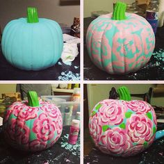 Diy Lilly Pulitzer Pumpkin I want to do this to my pumpkin for Halloween
