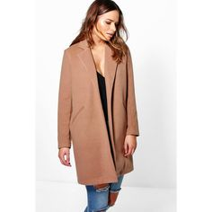 Boohoo Isla Wool Look Coat ($70) ❤ liked on Polyvore featuring outerwear, coats, camel, puff coat, camel wrap coat, wrap coat, woolen coat and wool wrap coat