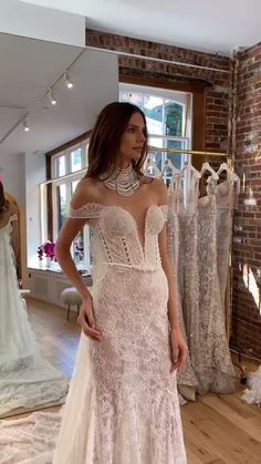 Behind the scenes during New York Bridal Week at our NYC Flagship Boutique, showcasing our Fall 2020 Bridal Collection. A chic collection inspired by pearls, featuring pearl accessories, embroideries, and puff sleeves. Classic Wedding Gowns, Rustic Wedding Dresses, Custom Wedding Dress, Gorgeous Wedding Dress, Dream Wedding Dresses, Formal Wedding, Wedding Shoes, Unique Dresses, The Dress