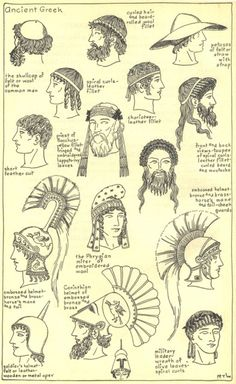 "I thought the different types of hats and hairstyles were interesting considering it had a lot to do with class and what line of work you were in. ""ANCIENT GREEK FASHION: Men's hairstyles and hats throughout Ancient Greek history"" Greek History, Ancient History, European History, American History, Ancient Greece Fashion, Ancient Greek Clothing, Rome Antique, Greek Fashion, Roman Fashion"