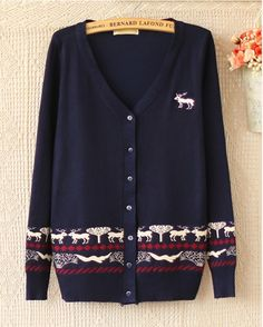 Navy V Neck Long Sleeve Deer Pattern Sweater
