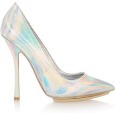 Stella McCartney Holographic faux leather pumps ($690) ❤ liked on Polyvore