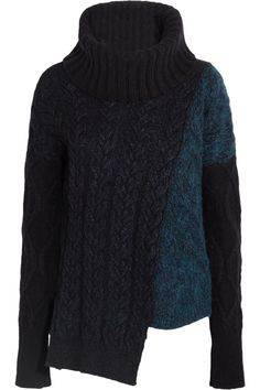 Stella McCartney | Asymmetric cable-knit wool-blend turtleneck sweater | NET-A-PORTER.COM