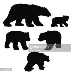 Polar bear silhouettes with cub.
