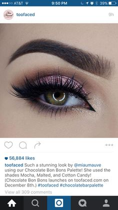 Too Faced Chocolate Bon Bon Palette - Mocha (crease), Malted (outer V), Cotton Candy (lid), Satin Sheets (inner corner)