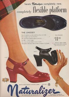 Comfortable, stylish shoes from a 1952 Naturalizer ad. #vintage #1950s #shoes #fashion