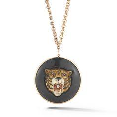 Fred Leighton Antique Yellow Gold Enamel Tiger Head on Black Jade Disc Hardstone Pendant