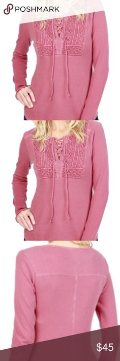 """Lucky Brand Lace Up Bib Thermal  Renaissance Rose Lucky Brand Long Sleeve Thermal Top SHIRT (Lace Up Bib) Renaissance Rose pink size M  The lace up neckline and crochet lace bib sets apart our oh-so comfy thermal tee while keeping its lived-in look and a relaxed feel.  V lace up neckline Pin tucking detail Long sleeves Lace up accent on front Thermal styling  Lightweight construction Seam detailing throughout Pullover styling Approx. 23"""" length (size S) Fiber Content 100% cotton Machine wash…"""