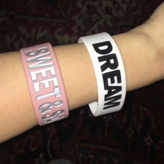 """Thick Silicone wristbands! Brand new! Brand new! Excellent condition! The pink one says """"sweet and sassy"""", the white one says """"dream""""! Jewelry Bracelets"""
