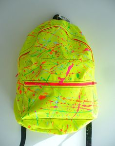 Neon Splatter Backpack by Blim on Etsy, $85.00