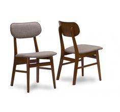 Baxton Studio Sacramento Mid-Century Dark Walnut Wood Grey Faux Leather Dining Chairs