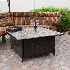 Ebern Designs Sorry Not Sorry Aluminum Propane Fire Pit Table Propane Fire Pit Table, Fire Table, A Table, Propane Fireplace, Steel Fire Pit, Wood Burning Fire Pit, Natural Gas Fire Pit, Square Fire Pit, Cool Fire Pits