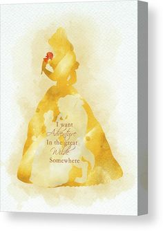 Belle quote watercolor Canvas Print / Canvas Art by Mihaela Pater Cute Disney Quotes, Disney Princess Quotes, Disney Princess Drawings, Disney Princess Pictures, Disney Phone Wallpaper, Beauty And The Beast Wallpaper Iphone, Disney Paintings, Disney Background, Watercolor Disney