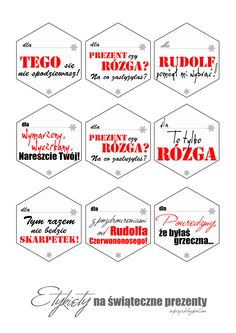 etykiety, opiski, karteczki na prezenty do wydrukowania za darmo