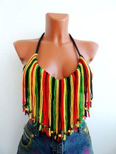 Hippie Women Crochet Top Sexy Jamaican Top Tank Halter Summer Wear Crop Top Beaded Summer Festival Bikini Top Beachwear Fringe Bra Handmade on Etsy, £17.17