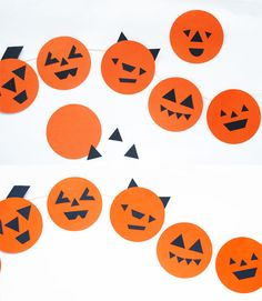 Funny faces ;) | The perfect pumpkin garland for Halloween