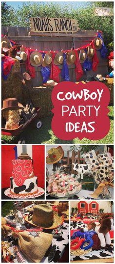 What fun cowboy party ideas. Cowboy First Birthday, Rodeo Birthday Parties, Rodeo Party, Cowboy Theme Party, Country Birthday, Farm Birthday, Birthday Party Themes, Birthday Bash, Birthday Ideas