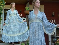 Vintage 1970's Mystic Fairies Powder Blue Floral Corset & Lace Embellished Sleeve Gunne Sax Prairie Dress NOTE:  I believe this is the one I have and will be listing - Diane Myers Stayton