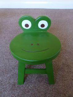 Children's Solid Wood Frog Stool | eBay