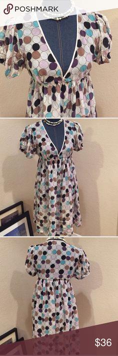 Tufi duek 100% silk dress GUC 100 silk sheer dress size euro 42 which is an XL colorful polka dot design Dresses