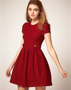 ASOS 'fit & flare' dress- love the button tabs & texture