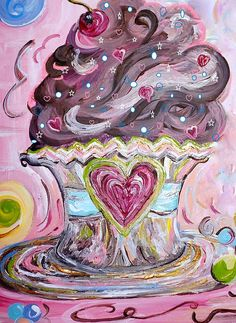 My Lil Cupcake - Chocolate Delight Art Print by Eloise Schneider Mote Cupcake Art, Beautiful Cupcakes, Love Cupcakes, Pink Images, Chocolate Delight, Thing 1, Painted Cakes, Paintings I Love, Paintings