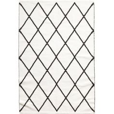 Jacquard-weave Cotton Rug $129 (475 PLN) ❤ liked on Polyvore featuring home, rugs, patterned rugs, rectangular rugs, cotton rugs, woven rug and black rug