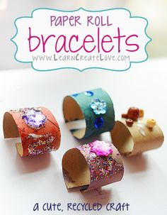 Found my Fun Friday Activity! Have you made these flashy recycled bracelets yet? We do not recommend using glitter with children under 3 years of age. Kids Crafts, Recycled Crafts Kids, Toddler Crafts, Projects For Kids, Recycling For Kids, Diy For Kids, Recycled Bracelets, Toilet Paper Roll Crafts, Toilet Paper Tubes