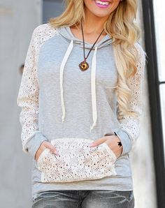 Sweet Hooded Long Sleeve Lace Spliced Pullover Hoodie For Women (AS THE PICTURE,S) | Sammydress.com