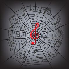 -black-music-notes-and-red-clef-on-the-center-in-the-spider-web