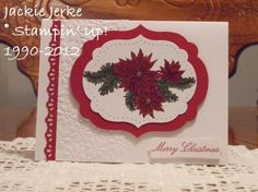 Christmas card ... traditional colors ... poinsettia and boughs image  ... lke the layered label ... Stampin' Up!