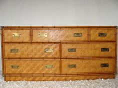 Vintage Bamboo Chest Campaign Dresser Console Table Brass Credenza Bohemian  Hollywood Regency Faux Bamboo Coastal Beach