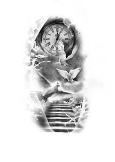 7 stairs at heaven customized tattoo design angel sleeve tattoo, angel tattoo men, angels Angel Sleeve Tattoo, Forearm Sleeve Tattoos, Full Sleeve Tattoos, Tattoo Sleeve Designs, Tattoo Designs Men, Angel Tattoo Men, Design Tattoos, Clock Tattoo Sleeve, Angels Tattoo
