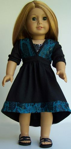 American Girl 18 doll Dramatic Black and Turquoise Killara Dress by MaddiesGirls on Etsy. Find the Liberty Jane Killara Dress pattern available at http://www.pixiefaire.com/products/killara-dress-and-top-18-dolls