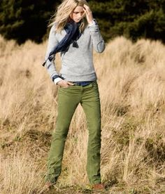 Green Pants. She pulls this off without looking like a hippie.