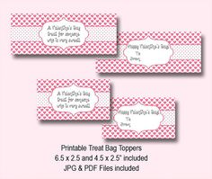 Valentine's Day Treat Bag Toppers Pink & by YourPrintableShop