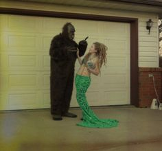 my homemade mermaid costume, it's all about the tail! and the awesome sasquatch :P