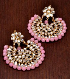 Kundan and Beads Embellished Dangler Earrings - Pink Pitch - 572210 Silver Jewellery Indian, Indian Wedding Jewelry, Silver Jewelry, Gold Jhumka Earrings, Indian Earrings, Antique Jewellery Designs, Jewelry Design, Jewelry Accessories, Bridal Necklace Set