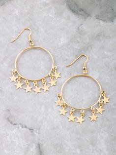 Hanging Stars Hoop Earrings