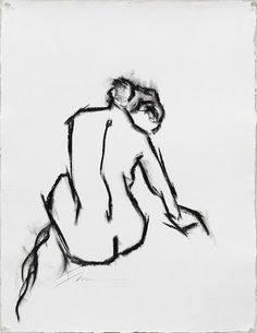 Charcoal nude by Chicago fine artist Francine Turk