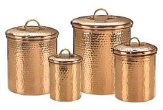 One Kings Lane - The Kitchen Store - S/4 Copper-Plated Hammered Canisters