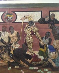 A new work by Ayanda Mabulu, the politically outspoken painter from Cape Town, (was removed from the walls of the FNB Joburg Art Fair 2013)