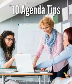 These 10 agenda tips will ensure your women's ministry team meeting runs efficiently and effectively. Women's ministry agenda tips. Ministry Leadership, Leadership Lessons, Leadership Activities, Leadership Coaching, Leadership Development, Women's Ministry, Ministry Ideas, Group Activities, Professional Development
