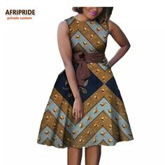 Online Shop 2019 autumn women african dress AFRIPRIDE private custom sleeveless knee-length A-Line pleated casual dress pure cotton African Dresses For Kids, Ankara Dress Styles, African Fashion Ankara, Latest African Fashion Dresses, African Dresses For Women, African Attire, Casual Dresses For Women, Casual Styles, Women's Clothing