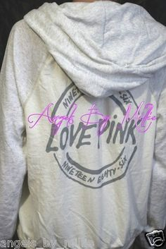 99 Cent #LaborDay #VSPINK #ebay #auction ends #SundayNEW Victoria'S Secret Pink S White TWO Tone Perfect ZIP Baggy Hoodie Sweat Shirt   eBay