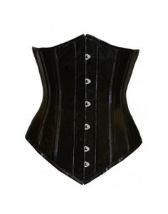 CANDY-LONG- Black PVC Authentic Steel Boned Long Underbust Corset