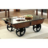 Furniture of America Charlotte Rustic Glass Top Coffee Table (Medium Weathered Oak), Black Cart Coffee Table, Glass Top Coffee Table, Rustic Coffee Tables, Coffee Table With Wheels, Rustic Table, Furniture Deals, Home Furniture, Furniture Design, Furniture Outlet