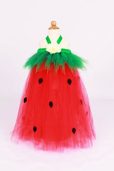READY TO SHIP: Tutu Dress - Strawberry Birthday or Halloween Costume - Red & Green - Berry Beauty - 3-4 Toddler Girl