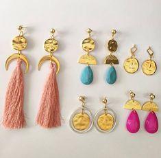 Geometric Earrings - Dangle Earrings -Long Handmade Earrings - Gold Earrings - Jewellery - Greek Glam Chic Earrings - Little Stone Jewels